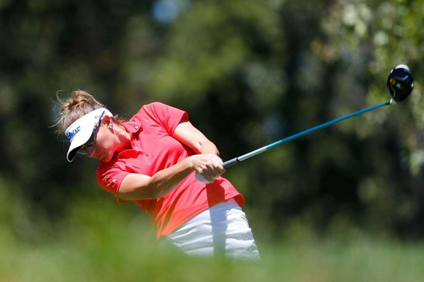 Brittany Lang tees off on the 7th hole during the final round of the US Women's Open.