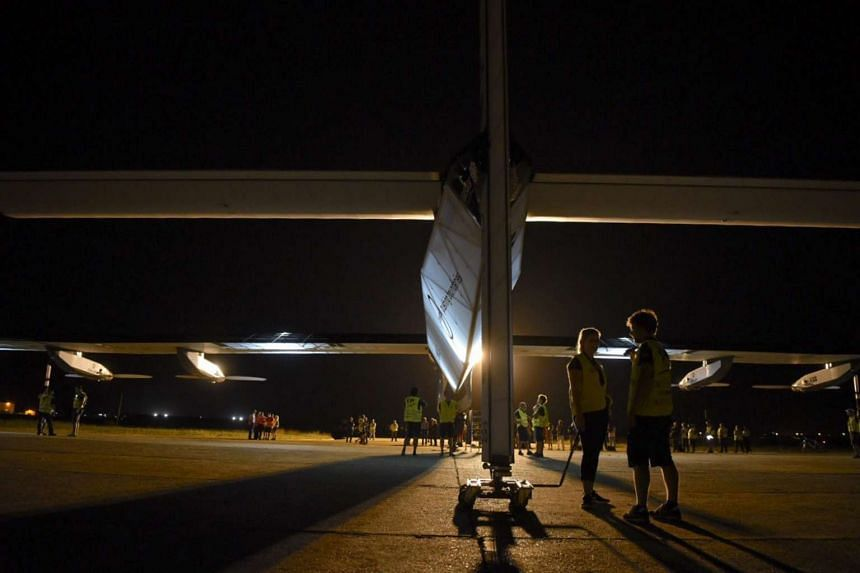 Solar Impulse preparing for take off from Seville, Spain on July 11, 2016, with Andre Borschberg at the controls.