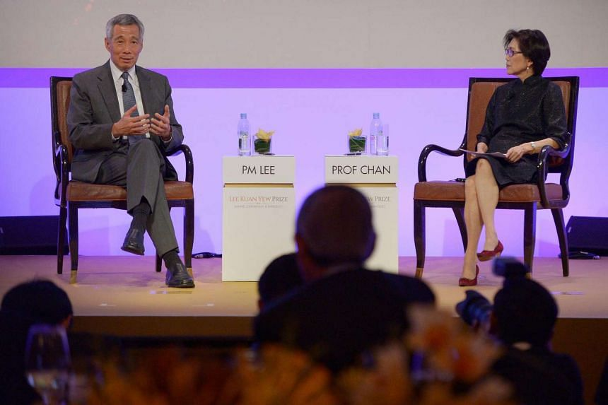 Prime Minister Lee Hsien Loong in a dialogue at the Lee Kuan Yew Prize Award Ceremony and Banquet at the ballroom of Ritz Carlton Hotel on July 11, 2016.