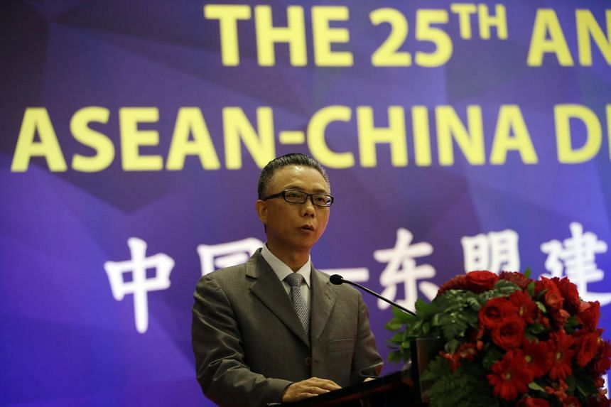 China's Ambassador to Asean Xu Bu delivers his speech during the 25th Annivesary of Asean-China Dialogue Relation in Jakarta on July 11, 2016.