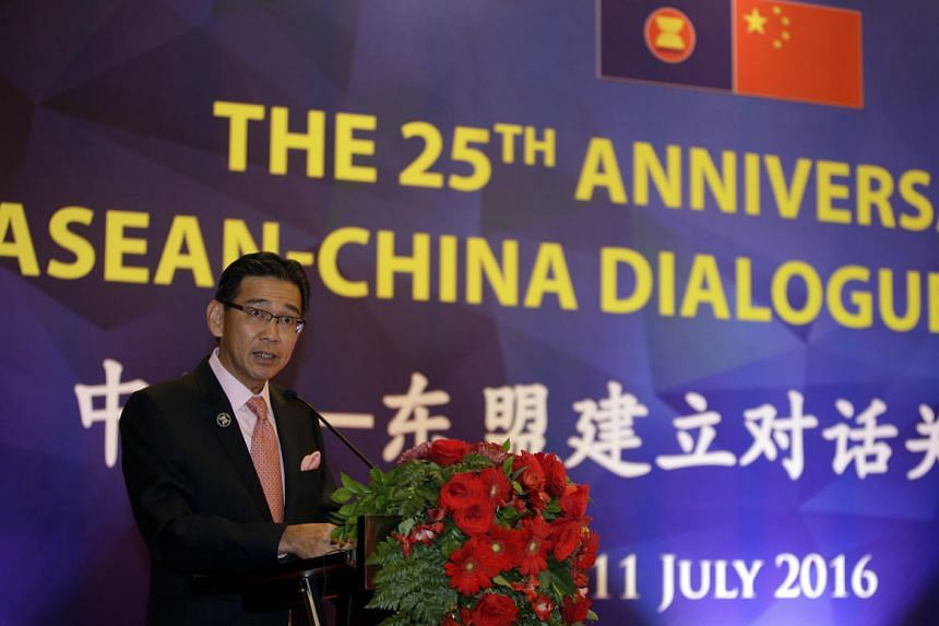 Singapore's Permanent Representative to Asean Tan Hung Seng delivers his speech during the 25th Annivesary of  Asean-China Dialogue Relation in Jakarta on July 11, 2016.