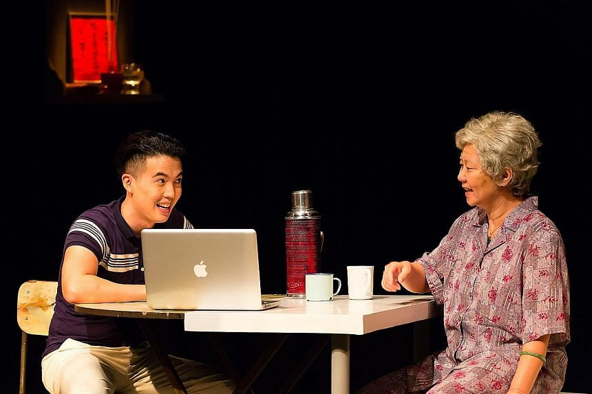 Tan Shou Chen (left) and Jalyn Han are convincing in their roles of grandson and grandmother.