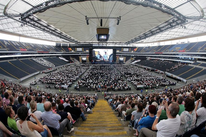 More than 7,500 classical musicians performing in a German football arena on Saturday night to set a world record for the biggest orchestra. Amateur groups and full orchestras from Germany, Austria and the Netherlands took part in the show in Frankfu