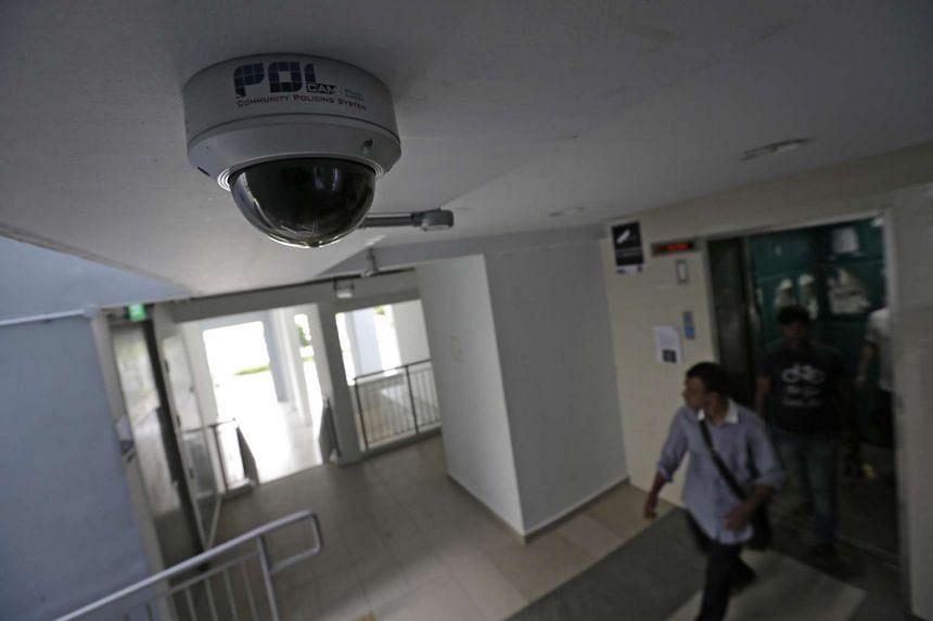 A police camera at a lift lobby in a Pasir Ris HDB block.
