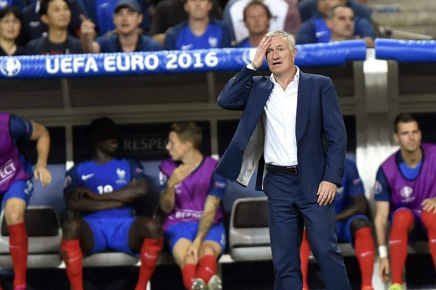 French Coach Didier Deschamps reacts during the Uefa Euro 2016 Final match between Portugal and France.