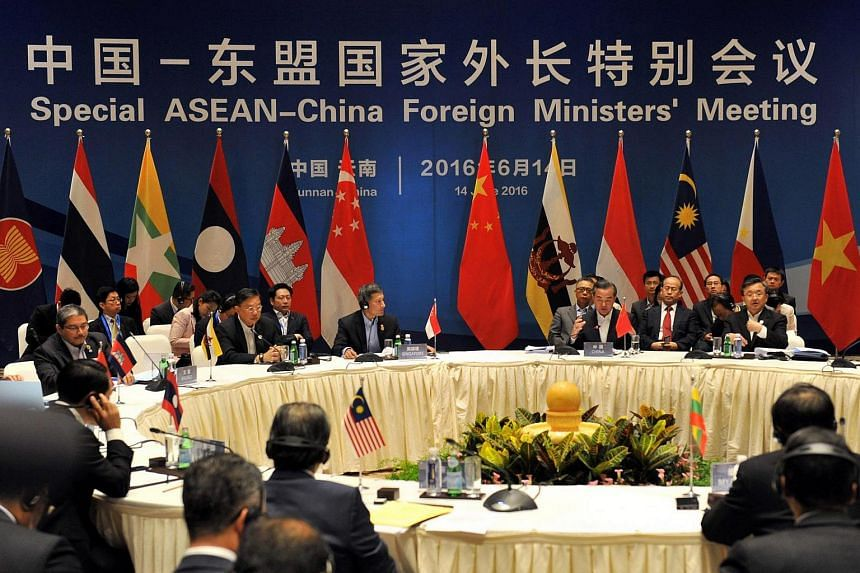 Chinese Foreign Minister Wang Yi (third from right) and foreign ministers from Asean-member nations attend a special Asean-China foreign ministers' meeting in Yuxi, China, on June 14, 2016.