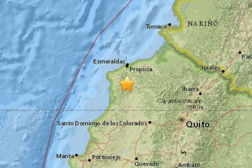 A shallow earthquake with a magnitude of 6.4 struck Ecuador's north-west coast on Sunday (July 10), said the US Geological Survey.