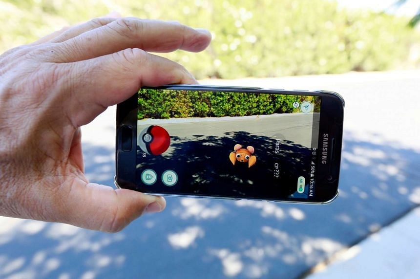 The augmented reality mobile game Pokemon Go on a smartphone screen, on July 11, 2016.