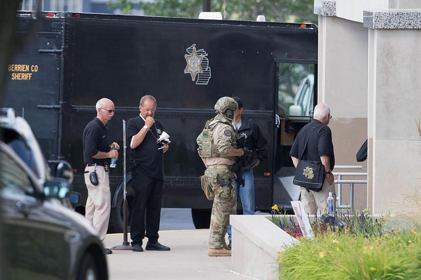Berrien County Sheriff's Deputies and Michigan State Police investigate the scene at Berrien County Courthouse.