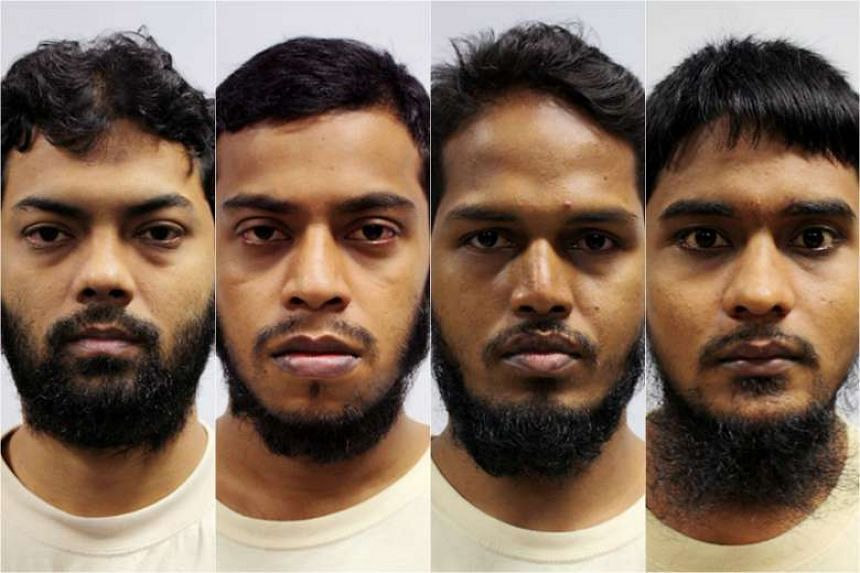 The four Bangladeshi workers (from left) ringleader Rahman Mizanur, 31; Miah Rubel, 26; Md Jabath Kysar Haje Norul Islam Sowdagar, 31; and Sohel Hawlader Ismail Hawlader, 29 have received sentences ranging 24-60 months for financing terrorism.