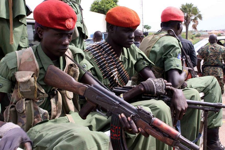 A file photo dated April 25, 2016 showing a group of the 195 opposition soldiers arriving with General Simon Gatwech Dual, the chief of staff of the South Sudan rebel troops, in Juba, South Sudan. Hundreds were purportedly killed in two days of renew