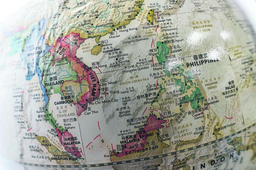 The South China Sea seen on a globe.
