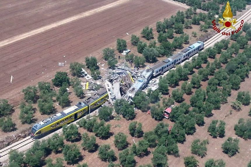 The crash site where two trains collided on a single-track stretch between Ruvo di Puglia and Corato, southern Italy, on July 2016.