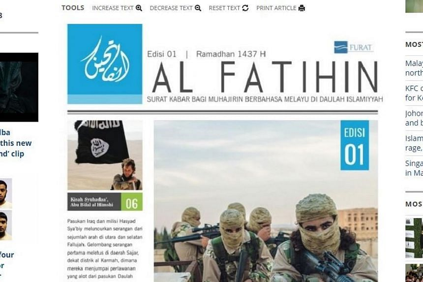 The front page of Al Fatihin, which reportedly launched in southern Philippines on June 20.