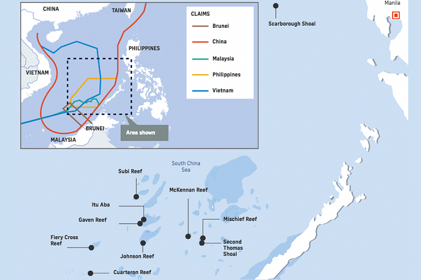 Locations of disputed places in South China Sea.