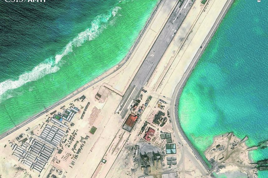 The center portion of the Subi Reef runway is shown in this Center for Strategic and International Studies (CSIS) Asia Maritime Transparency Initiative satellite image.