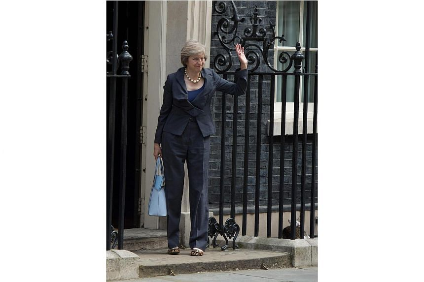 Larry, the Downing Street cat looks up at Theresa May as she arrives at 10 Downing Street on July 12, 2016.