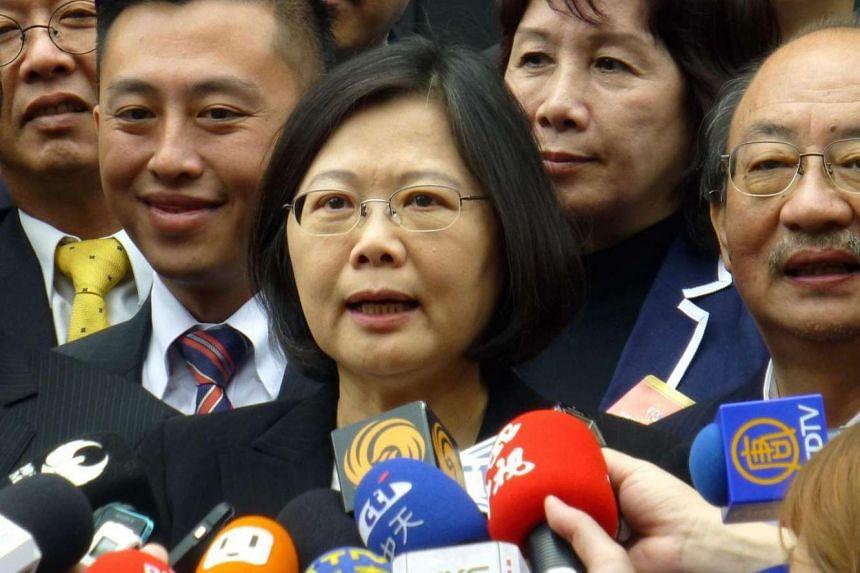 Taiwan President Tsai Ing-wen speaking to reporters in Taipei.