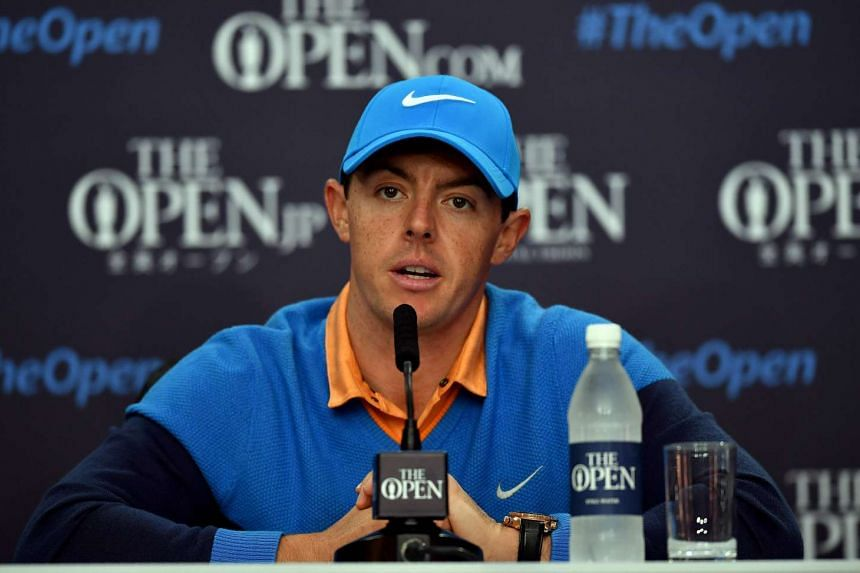 Rory McIlroy speaks to members of the media at a press conference on July 12, 2016, ahead of the 2016 British Open Golf Championship.