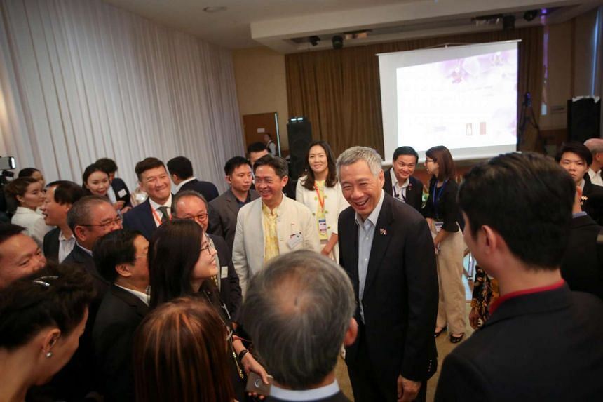 Prime Minister Lee Hsien Loong meets Singaporeans at Blue Sky Hotel in Ulaanbaatar, Mongolia, ahead of the Asia-Europe Meeting (ASEM) on July 13, 2016.