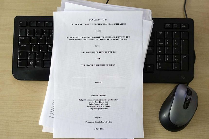 A close-up view of the cover page of the ruling documents in the South China Sea arbitration issue, made available by the Permanent Court of Arbitration in The Hague, Netherlands,  on July 12, 2016.