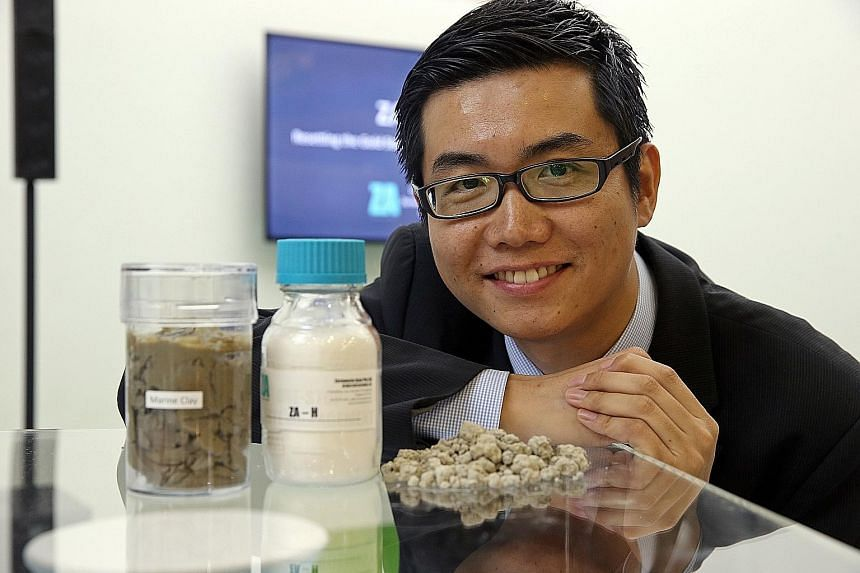 Dr Sun's company, Zerowaste Asia, has developed a chemical (centre) that can remove heavy metal contaminants from raw waste (left), before turning the waste into granules (right) that can be used in land reclamation.