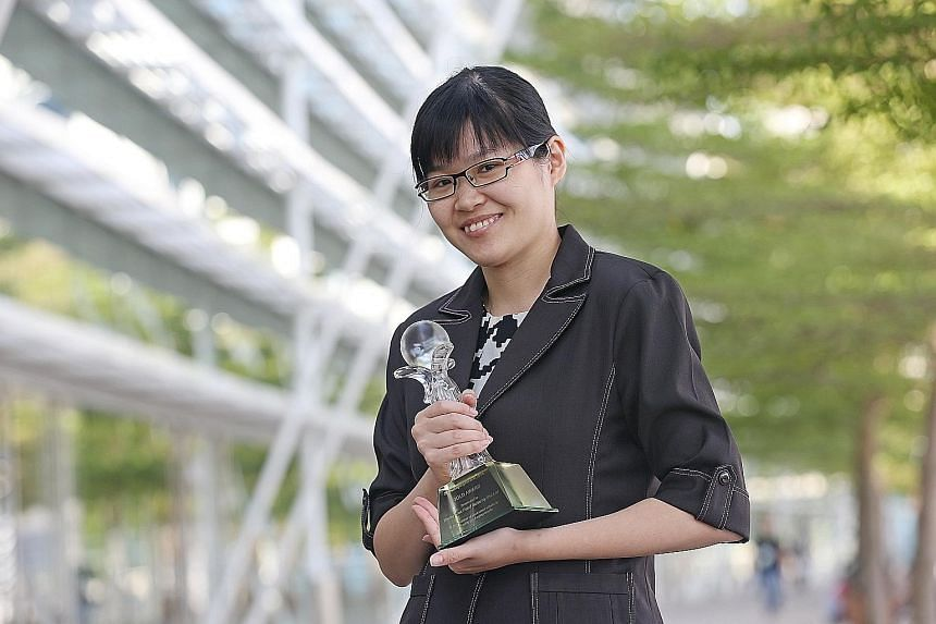 Ms Lim Xiao Fei of Thong Siek Food Industry, which won the merit and gold awards at the 3R Packaging Awards 2016, yesterday. Companies are recognised at the event for their efforts to reduce packaging waste.