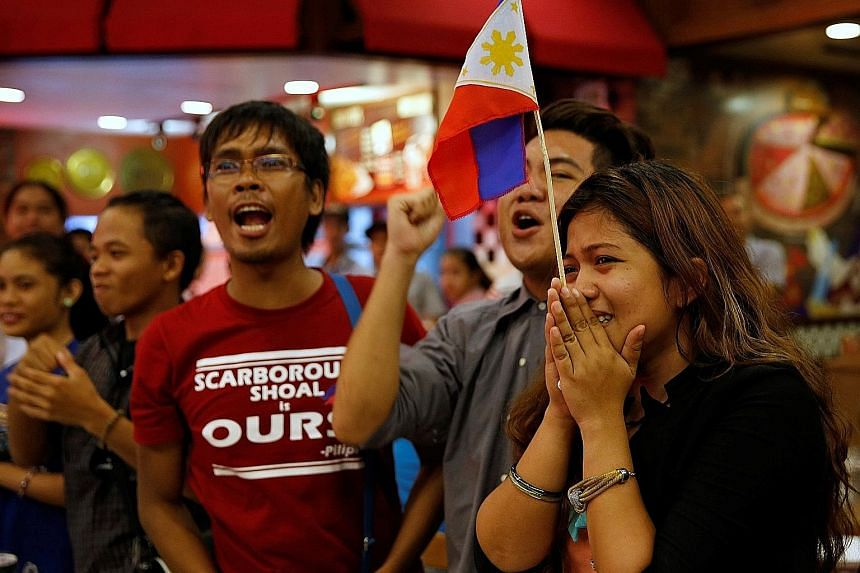 Activists who travelled to the contested Scarborough Shoal and were blocked by Chinese Coastguard a few months ago, reacting after a ruling on the South China Sea by an arbitration court in Hague, in favour of the Philippines.