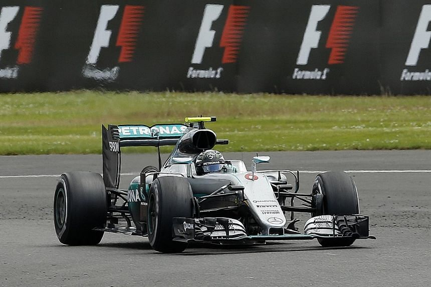 Nico Rosberg's lead over his team-mate Lewis Hamilton hangs by a one-point thread, after he fell foul of FIA rules restricting radio transmissions during the British Grand Prix.