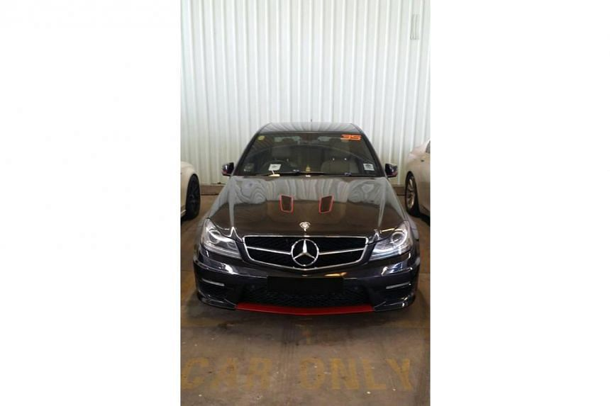 The Mercedes driven by Jandej Goh, who was charged on Wednesday (July 13) with taking part in illegal street racing along Seletar Link.