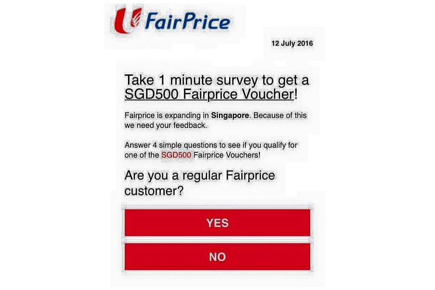 NTUC FairPrice is warning the public of a phishing scam that offers $500 in shopping vouchers.
