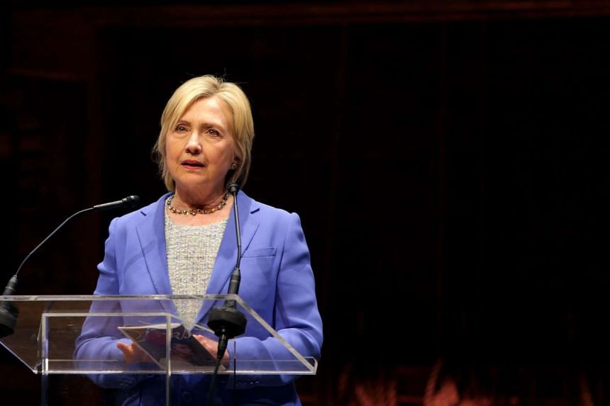Mrs Hillary Clinton speaks at the Richard Rodgers Theatre after a special performance of the Broadway musical Hamilton in New York City.