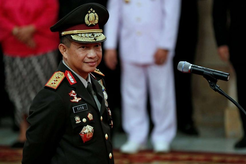 Indonesia's new National Police chief General Tito Karnavian as he attends his inauguration at the presidential palace in Jakarta, Indonesia on July 13, 2016.