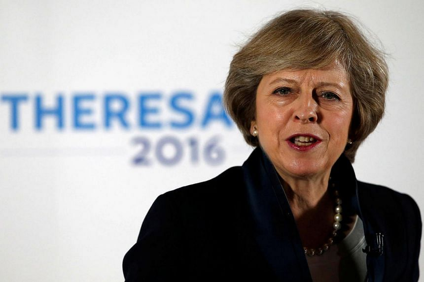 Britain's Home Secretary Theresa May speaks during her Conservative party leadership campaign.