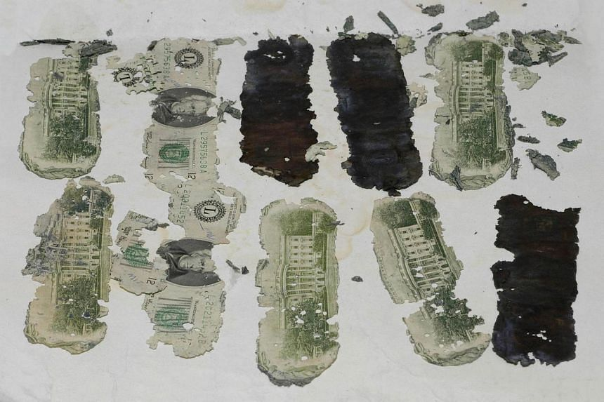 Some of the stolen US$20 bills taken by Dan Cooper, which were foound in Oregon by a young boy in 1980.