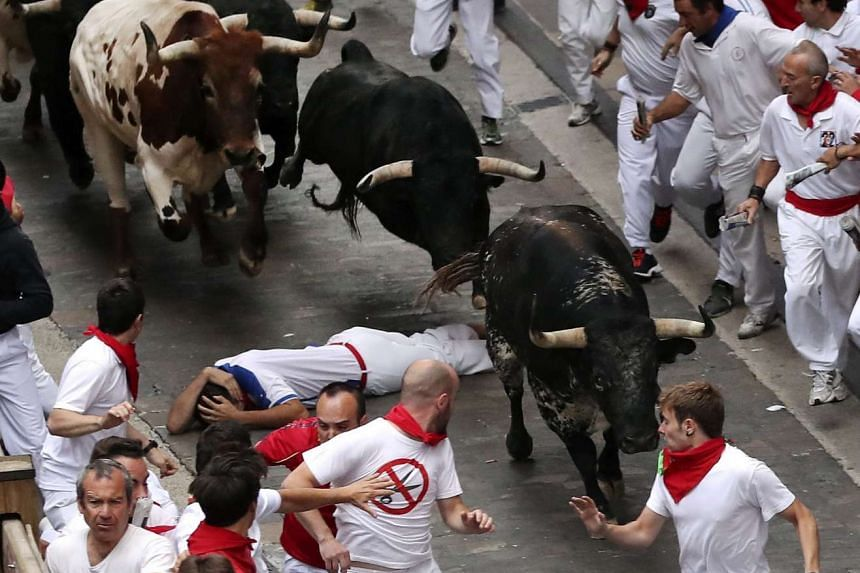 Bulls of the Victoria del Rio Cortes ranch chase runners or 'mozos' during the sixt bull run of Sanfermines 2016 in Pamplona.