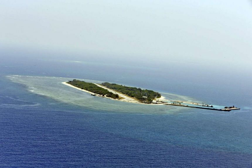 An aerial view of the alleged artificial islands built by China in the disputed waters of the South China Sea.