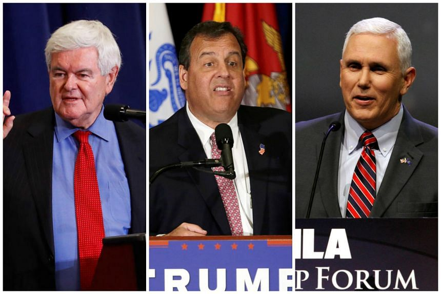 (From left) Newt Gingrich, Chris Christie and Mike Pence.