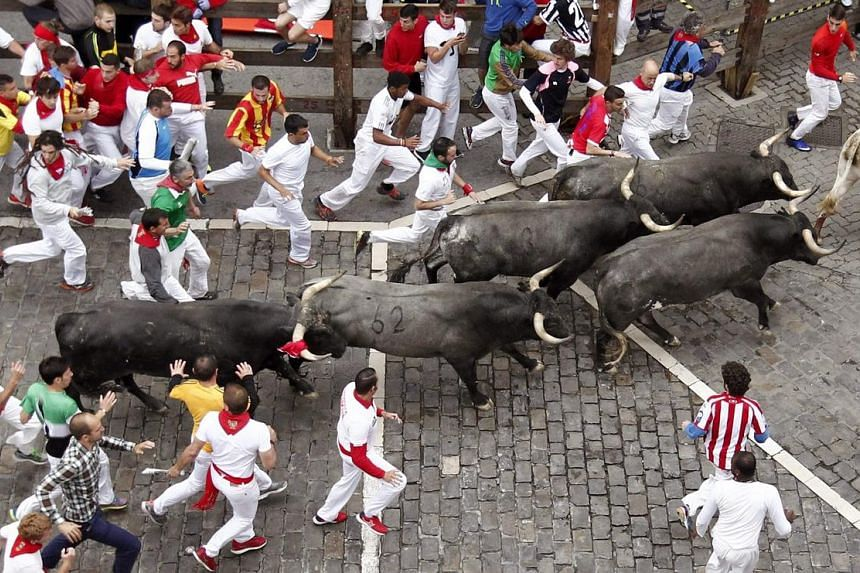 Several runners are chased by bulls from Miura ranch during the eighth and last bullrun of San Fermin 2016 in Pamplona on July 14, 2016.