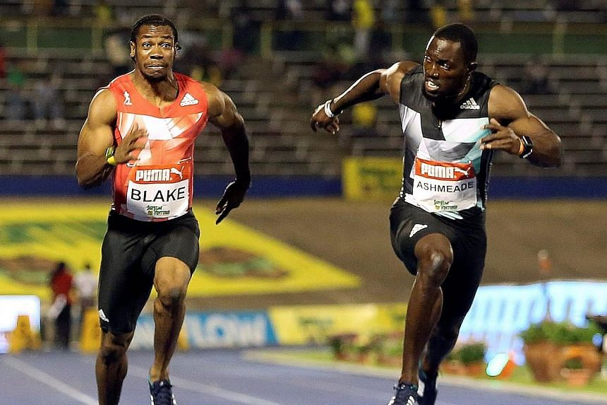 Jamaican sprinters Yohan Blake (left) and Nickel Ashmeade are among the stars who have faced new blood testing procedures at home.