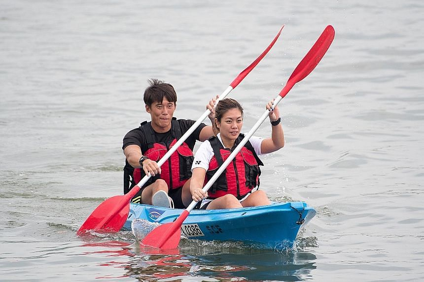 Sport Singapore facilitators at Kallang Water Sports Centre demonstrating the Public Canoe Challenge yesterday. The Challenge, open to anyone aged 13 and above, will feature teams of two along a 100m course off the Marina Bay City Gallery pontoon. It