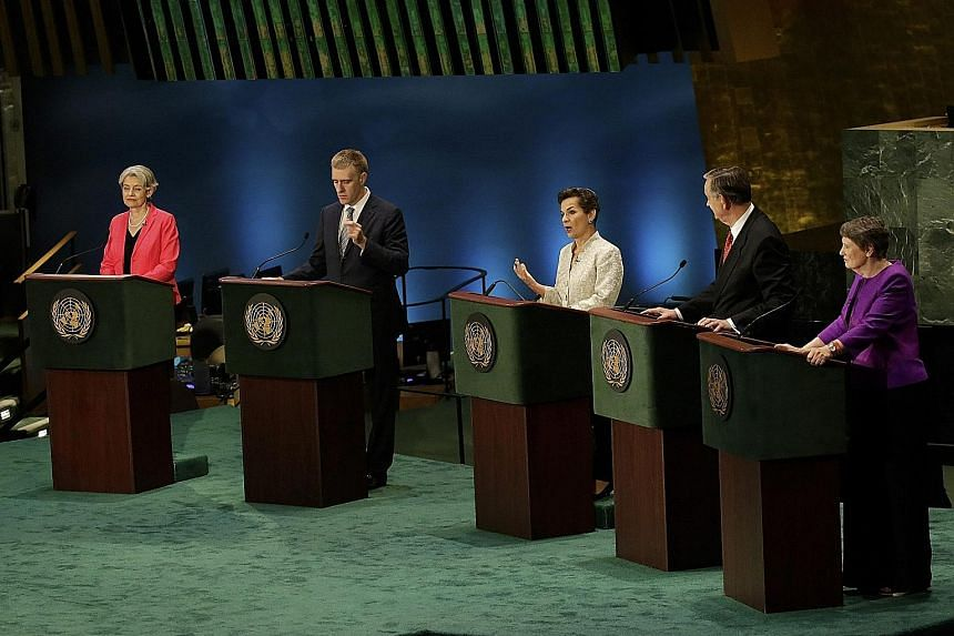 UN Secretary-General candidates (from left) Ms Irina Bokova, Mr Igor Luksic, Ms Christiana Figueres, Mr Danilo Turk, former president of Slovenia, and Ms Helen Clark at a townhall meeting on Tuesday. Two debates - with five candidates in each group -