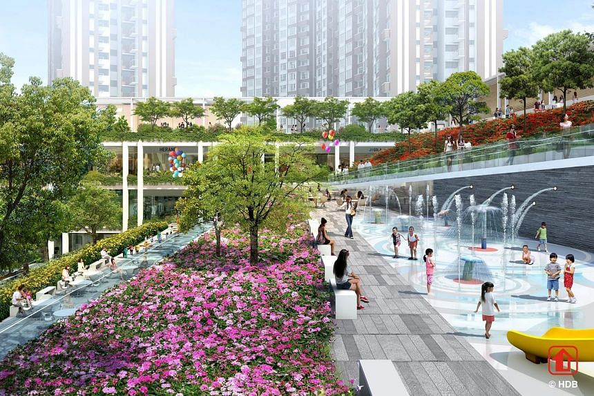 KAMPUNG ADMIRALTY The upcoming integrated development by HDB (above) incorporates rain gardens and other features in a tiered design that helps to retain and treat more than 30 per cent of the site area's rainwater runoff. OASIS TERRACES The upcoming