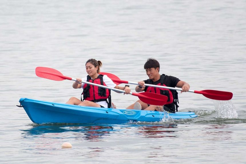 Sport Singapore facilitators at Kallang Water Sports Centre demonstrate the Public Canoe Challenge, on July 13, 2016.