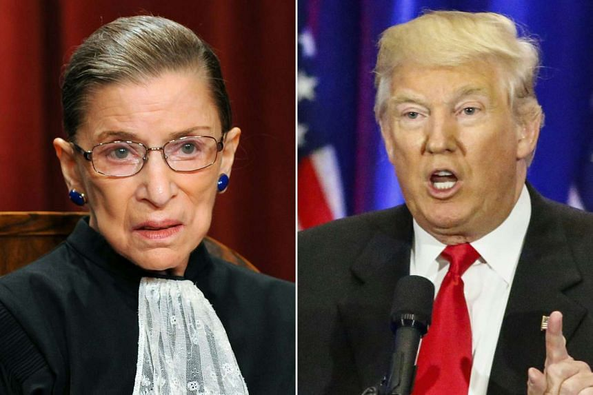 """Ginsburg (left) called Trump (right) """"a faker"""" who """"says whatever comes into his head at the moment""""."""