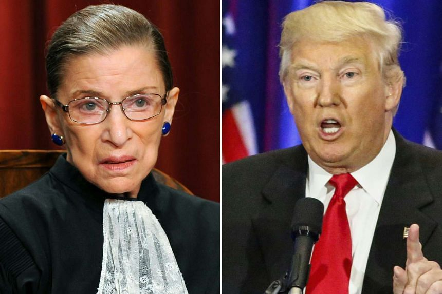 Justice Ruth Bader Ginsburg (left) is shown in Washington, DC, in 2010 and Donald Trump in New York in 2016.