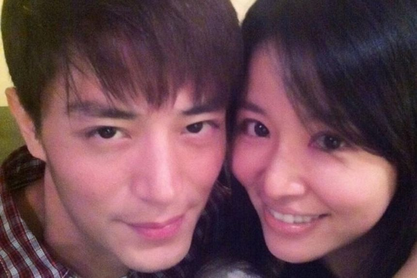 Ruby Lin (right) and her fiance Wallace Huo.