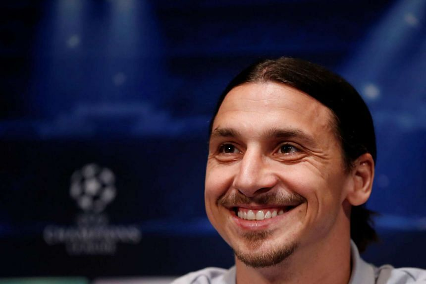 Zlatan Ibrahimovic addresses a news conference at the Parc des Princes stadium in Paris, in 2014.