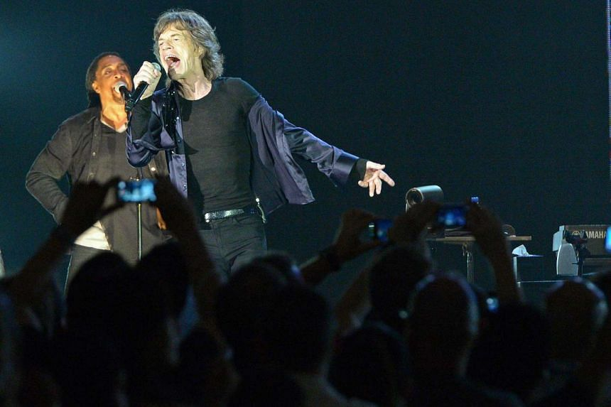 Mick Jagger of The Rolling Stones performing at the Marina Bay Sands Grand Ballroom on March 15, 2014.