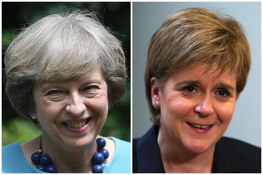 British Prime Minister Theresa May (left) will be meeting Nicola Sturgeon, head of the pro-independence Scottish government in Edinburgh.